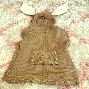 Sweaters - Girls poncho sweater - bunny